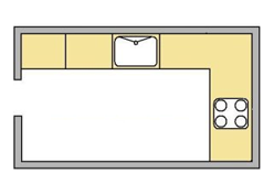 flat image of the L Shape kicthen layout